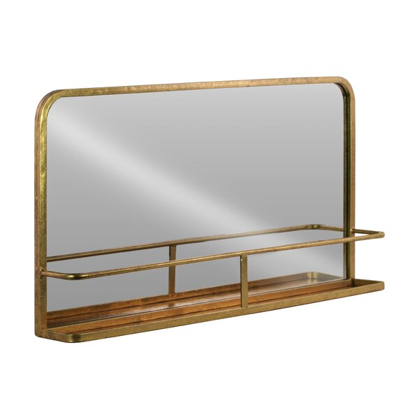 Dalston Rectangle Metal Wall Mirror with Shelf by Gracie Oaks