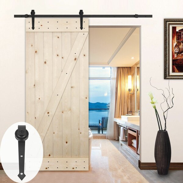 Arrow Style Wood Sliding Track Kit Barn Door Hardware by Lubann