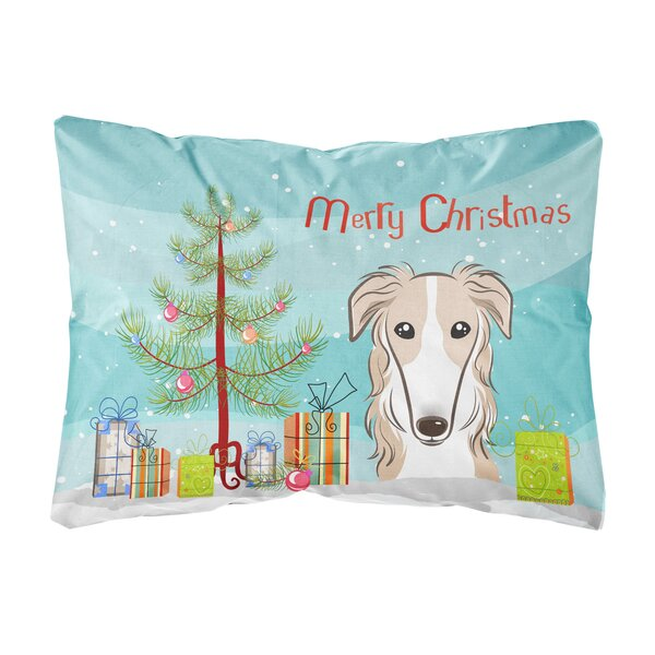 Kansas Christmas Tree and Borzoi Fabric Indoor/Outdoor Throw Pillow by The Holiday Aisle