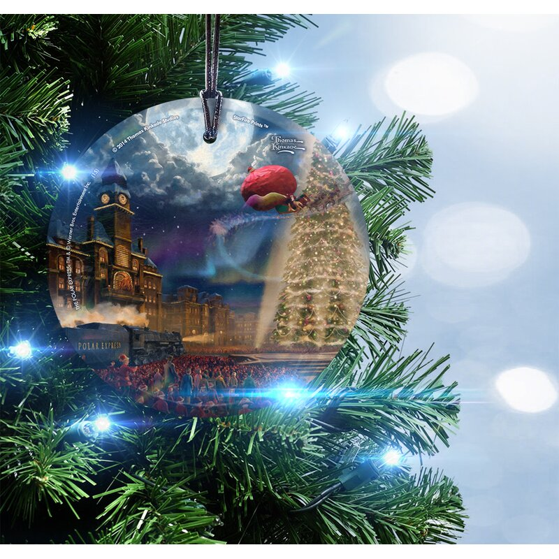 Thomas Kinkade (The Polar Express) Hanging Shaped Ornament