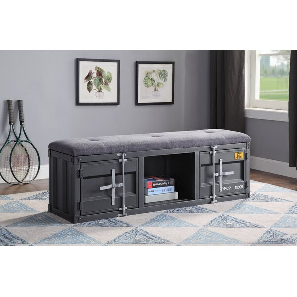 Jamar Metal Storage Bench by Breakwater Bay