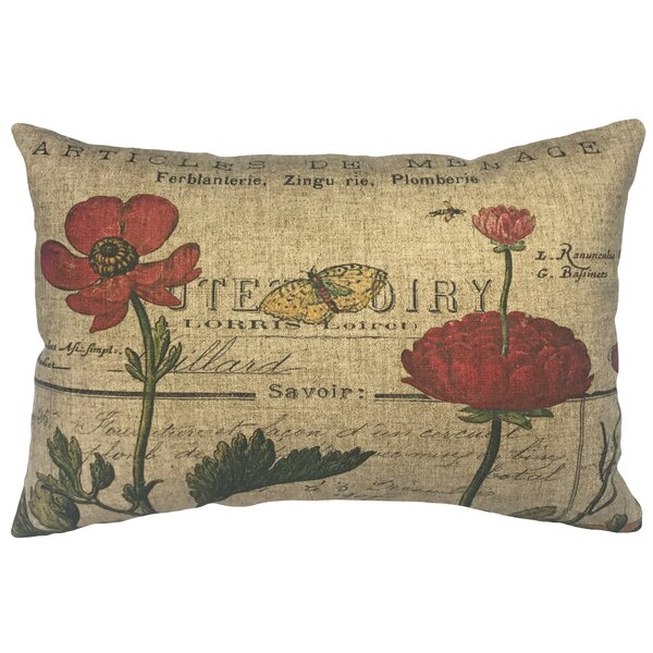 Norine French Flowers Linen Lumbar Pillow by Ophelia & Co.  @ $45.00
