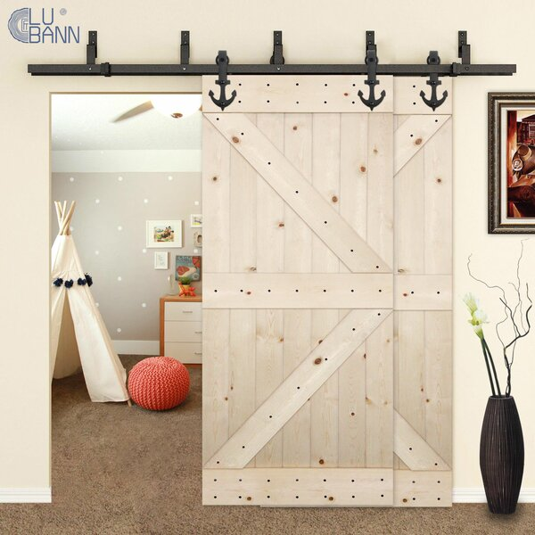 Bypass Double Sliding Barn Door Hardware by Lubann