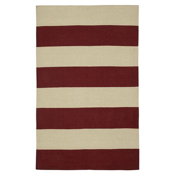 Hand-Woven Red/Ivory Area Rug by The Conestoga Trading Co.