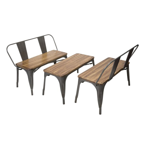 Dunamoy Wood/Metal Bench by Gracie Oaks