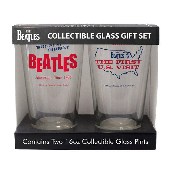 Beatles American Tour and US Visit 2 Piece Collectible Pint Glass Set by Boelter Brands