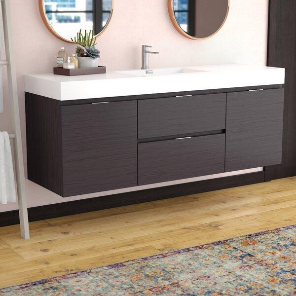 Tenafly 59 Wall-Mount Single Bathroom Vanity Set by Wade Logan