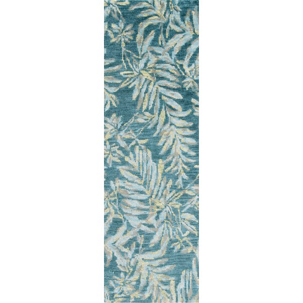 Breezy Floral Hand-Knotted Wool Teal Area Rug
