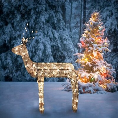 3-D Glitter Animated Standing Buck Reindeer Lighted Christmas Yard Art Decoration by Northlight Seasonal