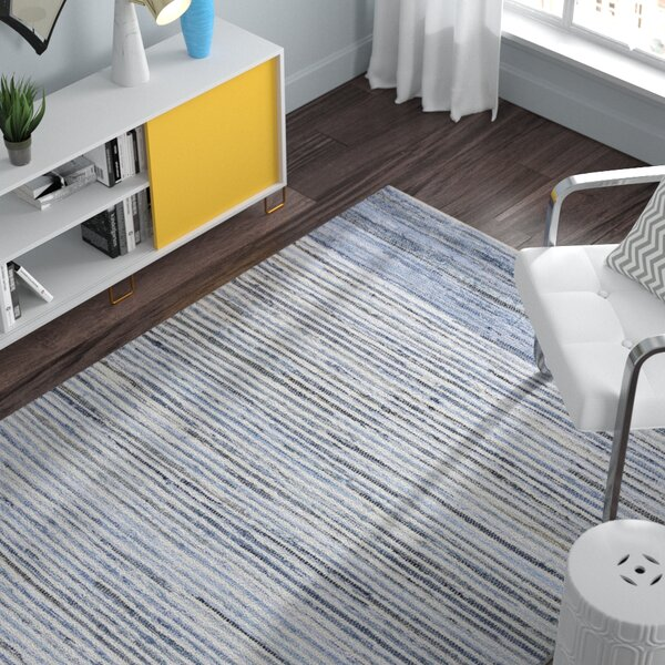 Audriana Hand-Woven Cotton Sky Blue Area Rug by Zipcode Design