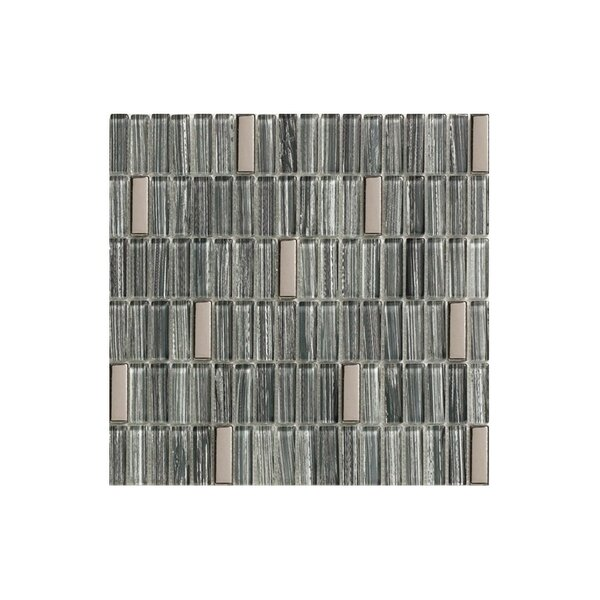 12 x 12 Glass Mosaic Tile in Glossy Slate blue, silver and black by Kellani