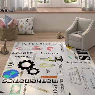 Read Reviews Bellville Stem Subjects Classroom Gray/Black/Red Area Rug ByZoomie Kids