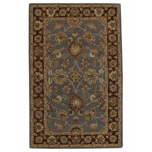 Mazzariello Vintage Hand-Woven Wool Blue/Brown Area Rug
