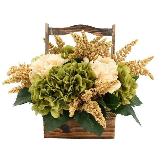 Mixed Hydrangea and Heather Flower Centerpiece in Basket by August Grove