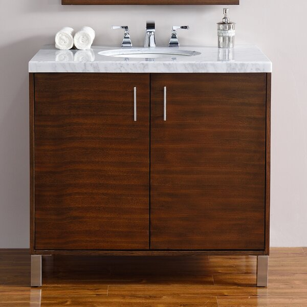 Cordie 36 Single Ceramic Sink American Walnut Bathroom Vanity Set by Orren Ellis