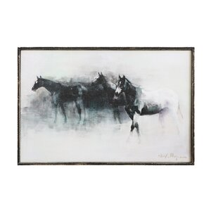 Wood Horses Framed Print of Painting on Canvas by Creative Co-Op