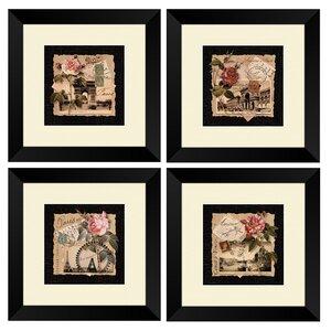 Postcards Framed 4 Piece Vintage Advertisement Set by PTM