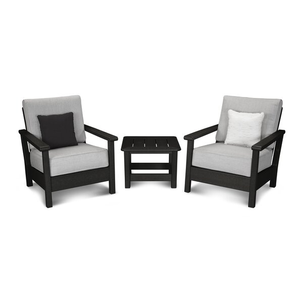 Harbour 3 Piece Sunbrella Conversation Set with Cushions by POLYWOOD®