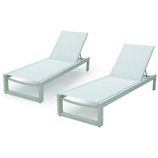 Branchville Premium Outdoor Reclining Chaise Lounge (Set of 2) by Wade Logan