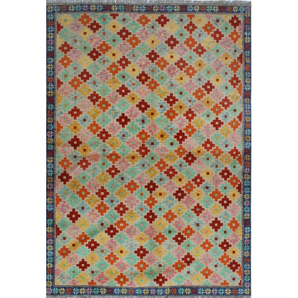 One-of-a-Kind Millender Domenic Hand-Knotted Wool Blue/Orange Are Rug by Bloomsbury Market