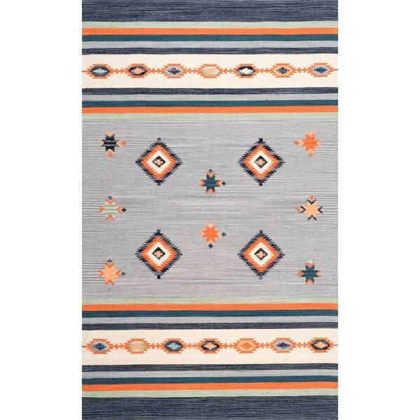 Hailer Hand Loomed Cotton Gray/Orange Area Rug by Loon Peak