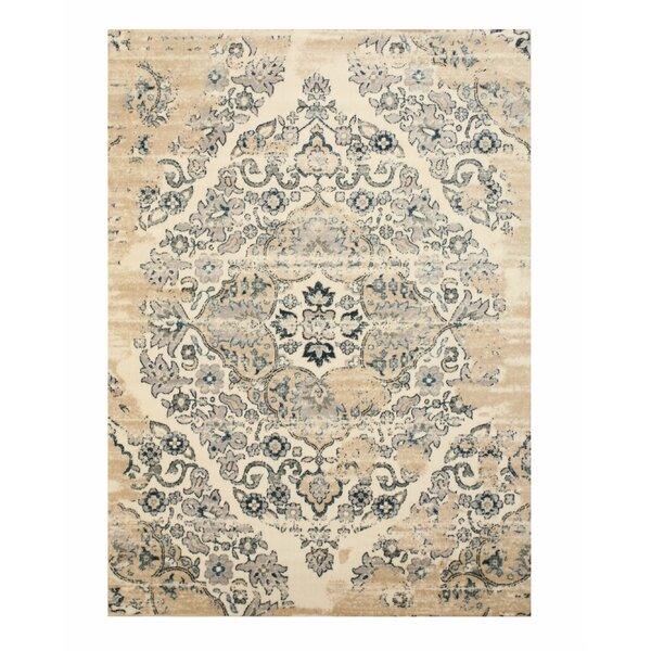 Lecuyer Medallion Distressed Ivory/Gray Area Rug by Ophelia & Co.