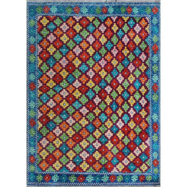 One-of-a-Kind Millender Mudiwa Hand-Knotted Wool Blue/Red/Orange Area Rug by Bloomsbury Market