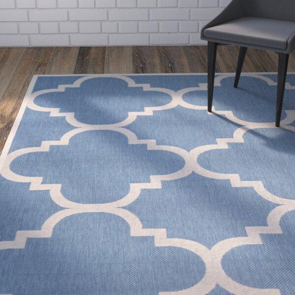 Short Lattice Blue/Beige Indoor/Outdoor Area Rug by Winston Porter