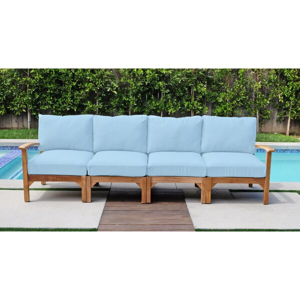 Cresicio Deluxe Teak Patio Sofa with Sunbrella Cushions by Foundry Select