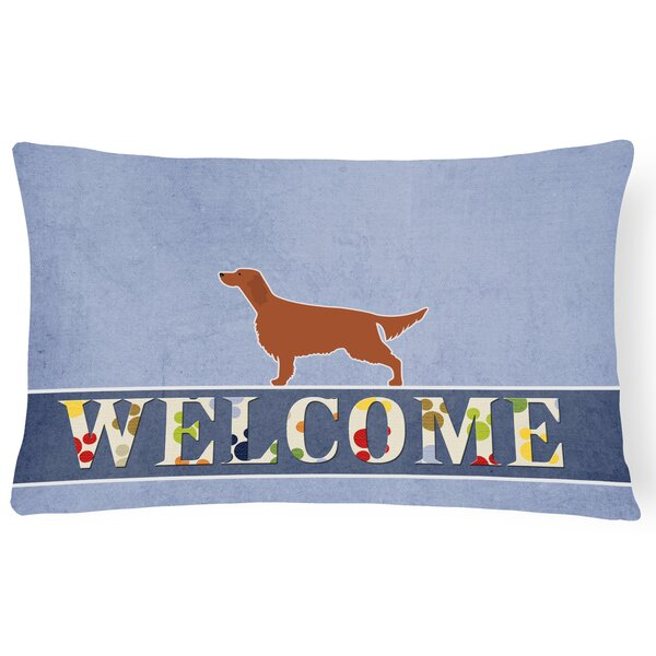 Carey Irish Setter Welcome Lumbar Pillow by Red Barrel Studio