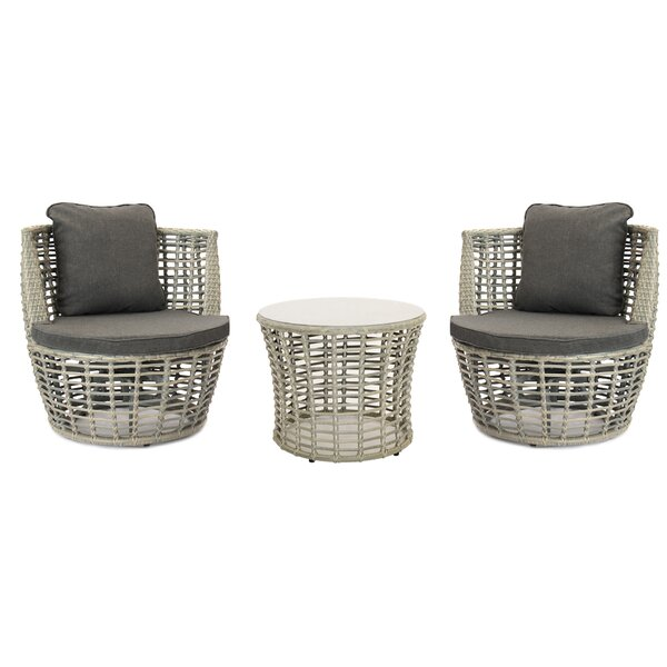 Michalski Outdoor Patio 3 Piece Seating Group with Cushions by Bungalow Rose