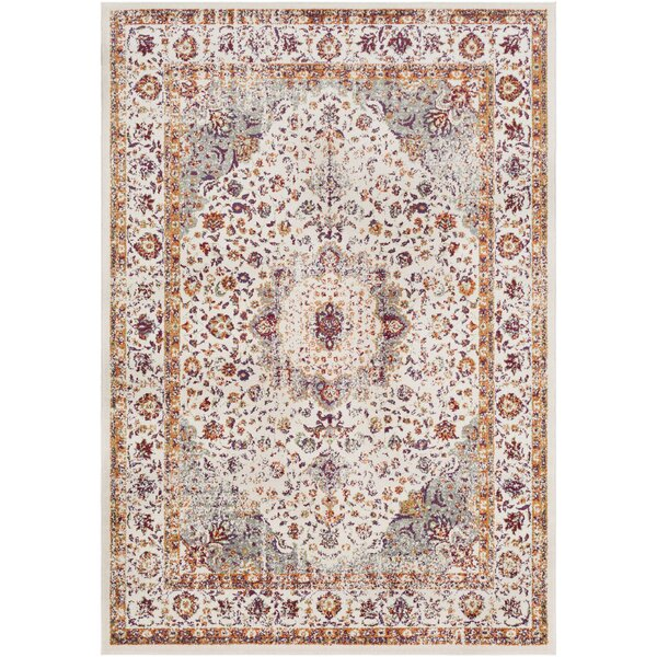 Almendarez Distressed Ivory/Gold Area Rug by Bungalow Rose