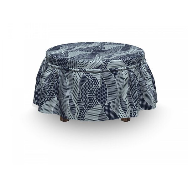 Waves Circles And Dots Ottoman Slipcover (Set Of 2) By East Urban Home