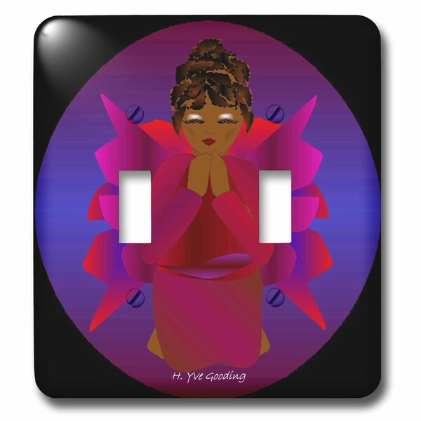 African-American Angel Baby Girl Praying 2-Gang Toggle Light Switch Wall Plate by 3dRose