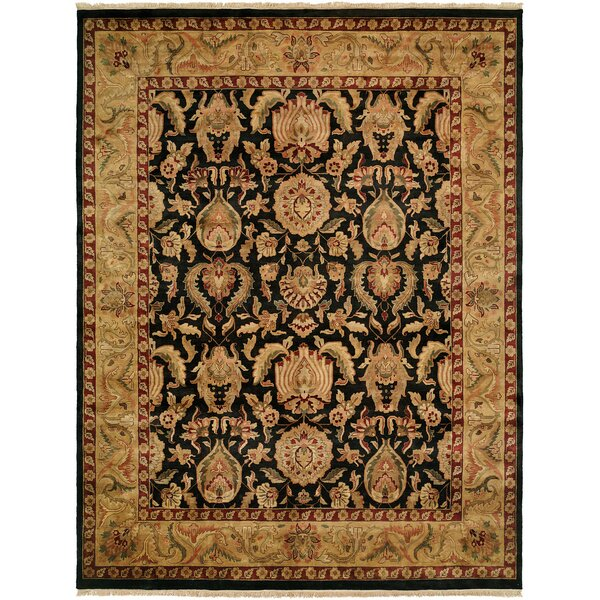 Gumia Hand-Knotted Black/Gold Area Rug by Meridian Rugmakers