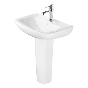 Online Reviews Ceramic 25 Pedestal Bathroom Sink with Overflow By Abolos