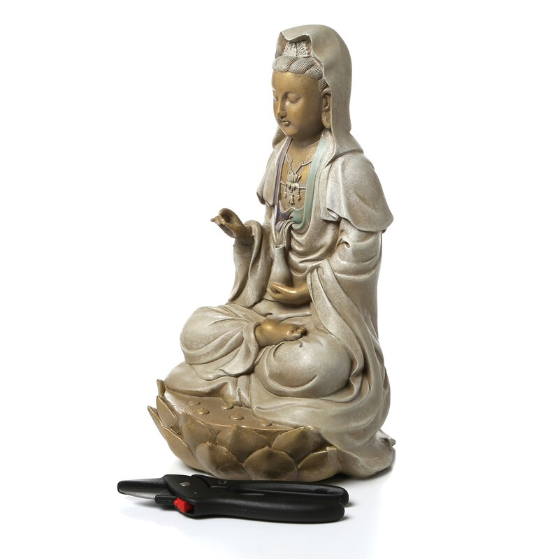 Goddess Guan Yin Seated On Lotus Statue