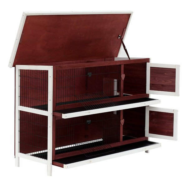 Gillette 2 Story Wooden Rabbit Hutch with Enclosed Run and Pull Out Tray by Tucker Murphy Pet