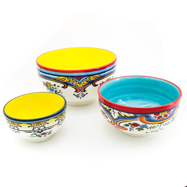 Hong 3 Piece Ceramic Mixing Bowl Set by Bungalow Rose