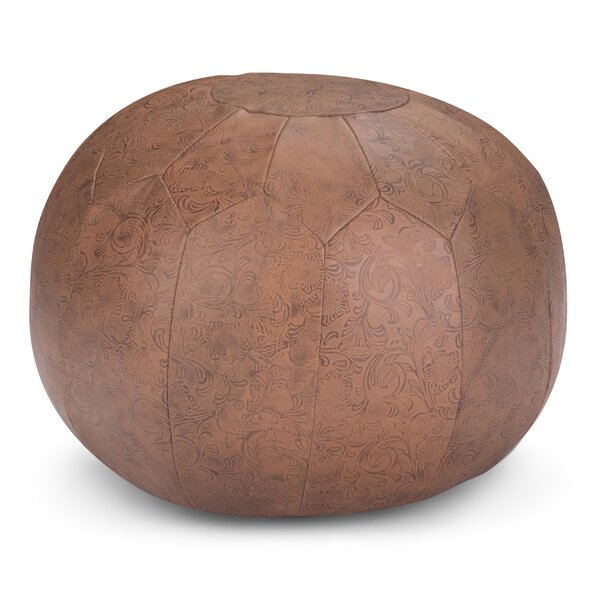 Itasca Leather Pouf By Bungalow Rose