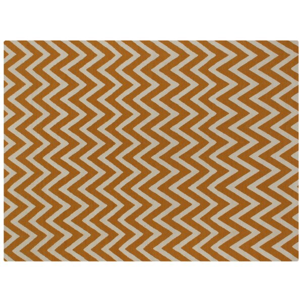 Flat woven Wool Light orange/Ivory Area Rug by Exquisite Rugs