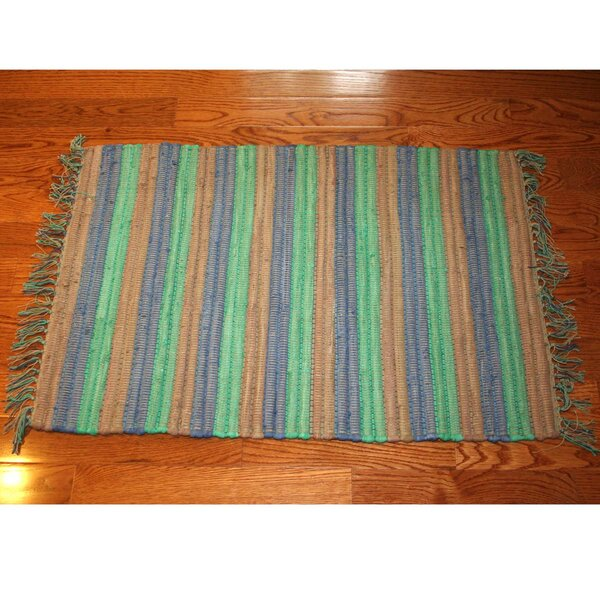 One-of-a-Kind Linmore Nubby Stripe Hand-Woven Green Area Rug by Bay Isle Home
