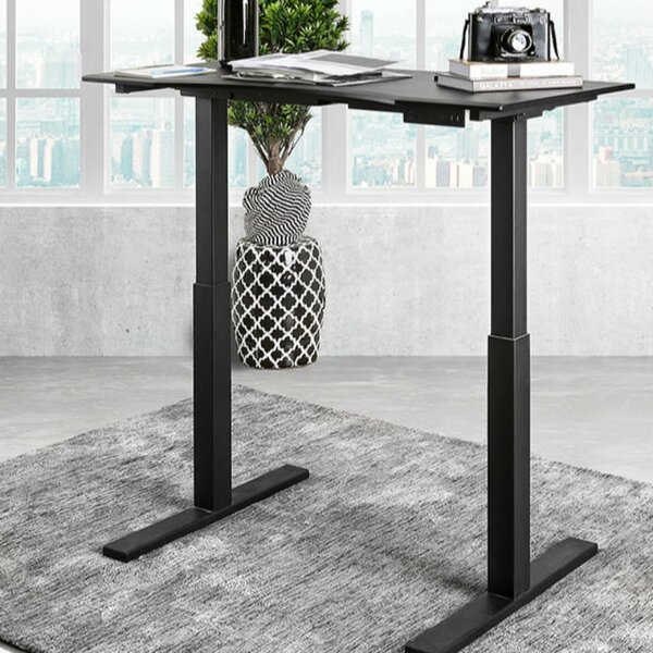 Luciana Minimalist Metallic Height Adjustable Standing Desk by Symple Stuff