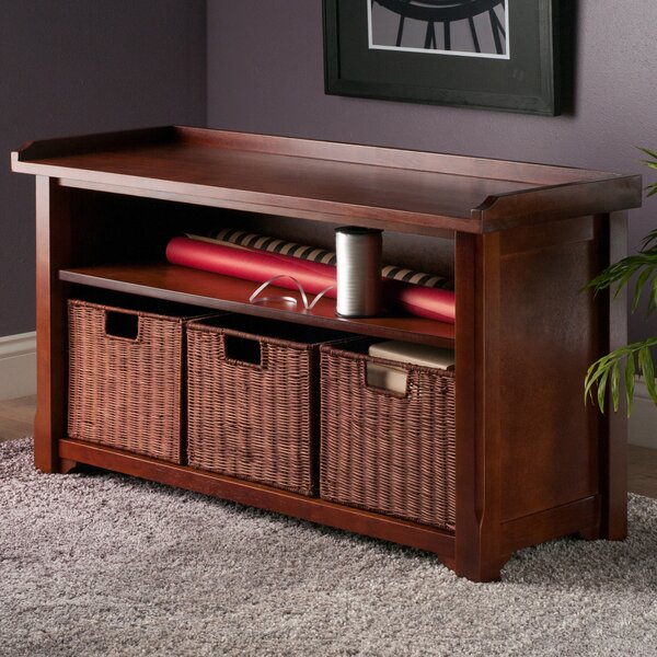 Alasan Wood Storage Bench by Alcott Hill