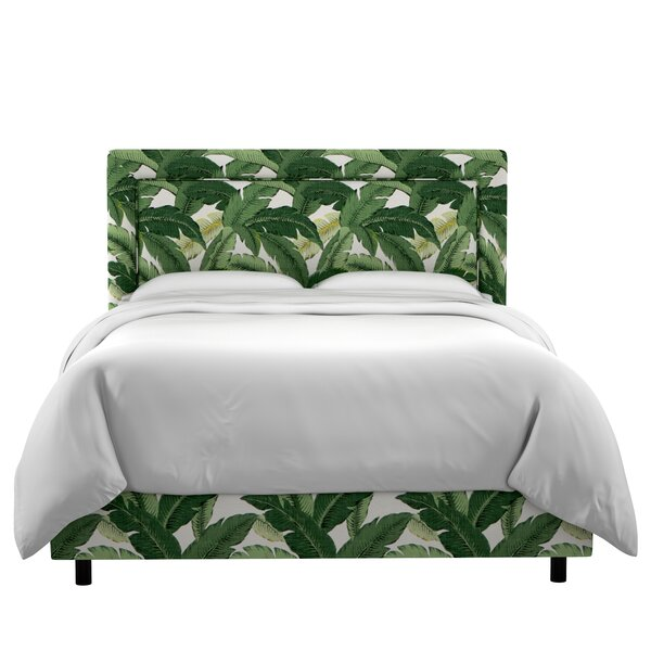 Promfret Swaying Palm Aloe Border Linen Upholstered Standard Bed by Beachcrest Home