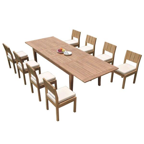 Lyndhur 9 Piece Teak Dining Set by Rosecliff Heights
