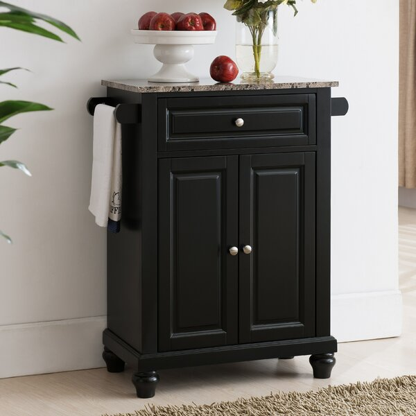 Leonard Kitchen Cart with Faux Marble Top by Alcott Hill