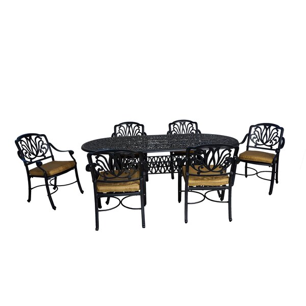 Wasserhund 7 Piece Metal Dining Set with Cushions by Astoria Grand