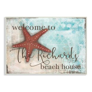 Personalized Beach House With Starfish Wall Plaque Art