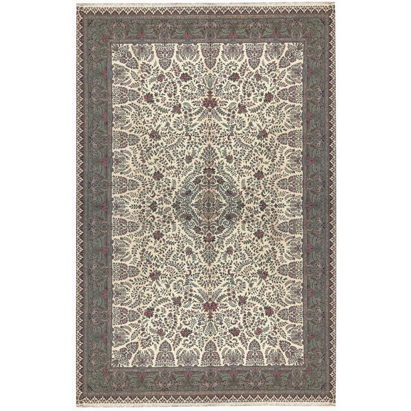 One-of-a-Kind Jahan Hand-Knotted Ivory/Gray 12' x 18' Wool Area Rug